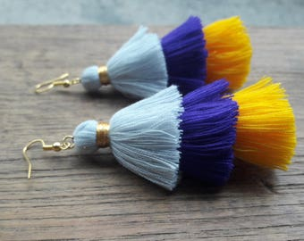 Gray,purple,yellow tassels earrings