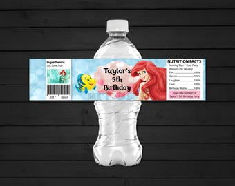 Personalized Ariel The Little Mermaid Water Bottle Label Printable Birthday Party Baby Blue Aqua Pink Bokeh Printable DIY - Digital File
