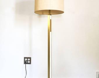 vintage mid century white brass architectural floor lamp