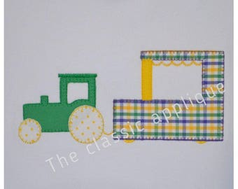 Mardi Gras tractor pulling float blanket stitch applique embroidery design