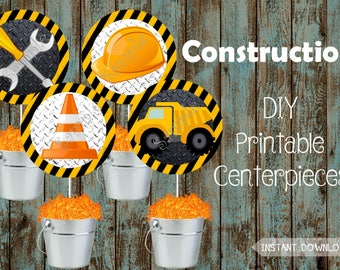 Construction Centerpieces, Construction Cake Topper,Construction Printable Decorations,Construction Party Supplies,Construction Birthday