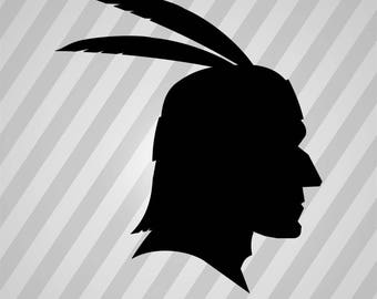 Native American Profile Silhouette Dingbat - Dxf, Svg, Eps, Rld, Rdworks, Pdf, Png And Ai Print Files, Digital Cut, Vector File, Svg File