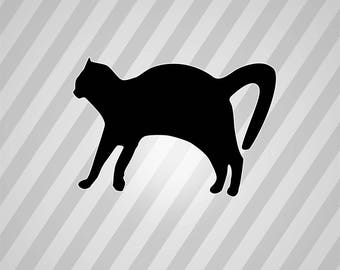 Kitty Silhouette - Svg Dxf Eps Silhouette Rld Rdworks Pdf Png Ai Files Digital Cut Vector File Svg File Cricut Laser Cut