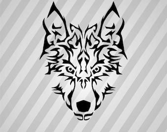 Tribal Wolf Symmetric - Svg Dxf Eps Silhouette Rld RDWorks Pdf Png AI Files Digital Cut Vector File Svg File Cricut Laser Cut