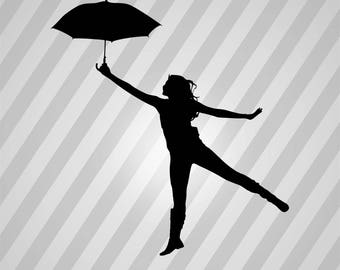 Woman With Umbrella Silhouette - Svg Dxf Eps Silhouette Rld RDWorks Pdf Png AI Files Digital Cut Vector File Svg File Cricut Laser Cut