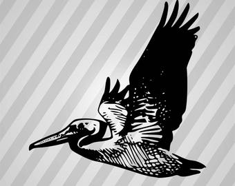 Flying pelican - Svg Dxf Eps Silhouette Rld RDWorks Pdf Png AI Files Digital Cut Vector File Svg File Cricut Laser Cut