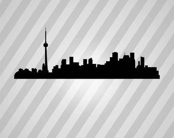 toronto skyline Silhouette - Svg Dxf Eps Silhouette Rld RDWorks Pdf Png AI Files Digital Cut Vector File Svg File Cricut Laser Cut