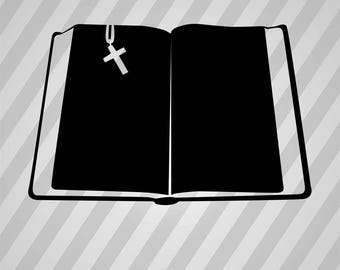Book Bible Silhouette Bible Book - Svg Dxf Eps Silhouette Rld RDWorks Pdf Png AI Files Digital Cut Vector File Svg File Cricut Laser Cut