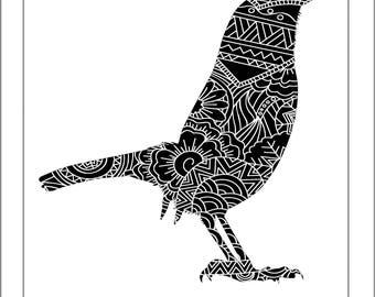 Wren Papercut Template - Svg Paper Cut Templates Stencil Line Art Henna Mandala Pdf Cut Files Digital Clip Art Drawing