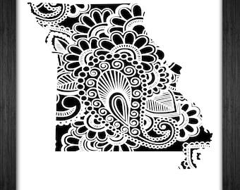 Missouri Map Papercut Template Mandala Henna - Svg Paper Cut Templates Stencil Line Art Pdf Cut Files Digital Clip Art Drawing