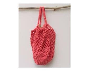 Coral crochet market bag mesh bag
