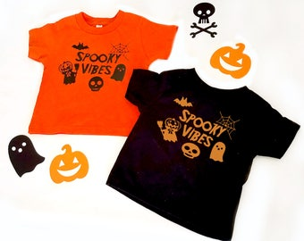 Spooky Vibes Halloween Toddler Shirts, Halloween T-shirt, Custom Kids T-Shirts, Kids Halloween Shirts, Pumpkin Ghosts Spiders Skeletons Bats