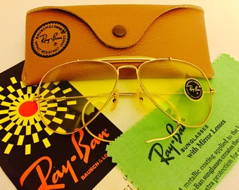 vintage aviator outdoorsman ray ban yellow kalichrome usa bl bausch lomb NOS 58mm new old stock