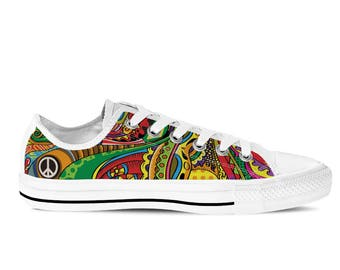 Women's Low Top Sneaker with Colorful Print, Peace Symbol and White Soles 'Peace of Color' - Multicolored/White