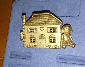 A.J.C Gold Toned Dollhouse Pin