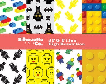Lego Digital Papers, Lego Papers, Lego Pattern, Lego Background, Lego Batman Clipart, Lego Batman paper, Lego Scrapbook, Lego Paper Pack