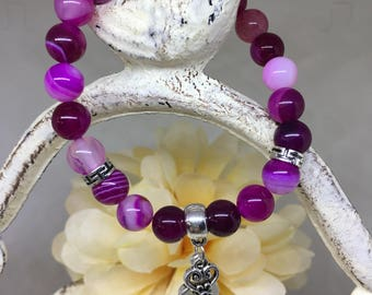 Gemstone beaded bracelet-stretch beaded bracelet- women's bracelet