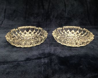 Pair of heavy cut glass / crystal ash trays. Circa 1960's. Diameter approx 6 inches.