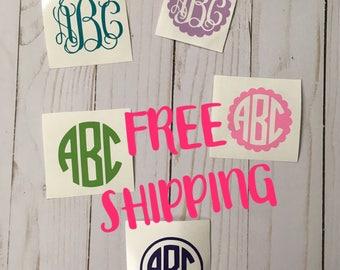FREE SHIPPING!! 3 INCH Monogram Decal, Monogram Sticker, Vinyl Monogram, Monogram for car