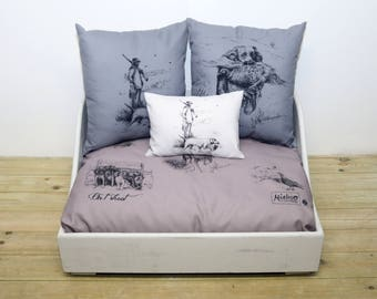 Small 'On T' Shoot' personalised shabby chic dog bed - Autumn