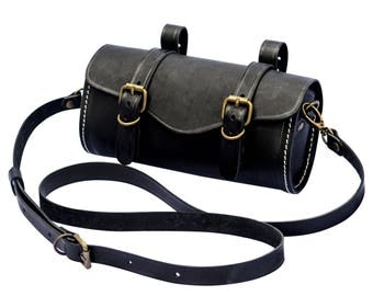 Bicycle Bags, Leather Bicycle Saddle Barrel Bag, Bicycle Seat Barrel Bag, Leather Bicycle Bag, Bicycle Leather Bag, Bicycle Saddle Bag
