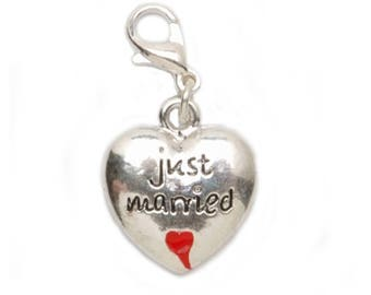 Lobster Clasp Charm - Just Married - .5625 x .75 inches-1999-7507