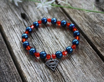 Superman Charm Stretch Bracelet