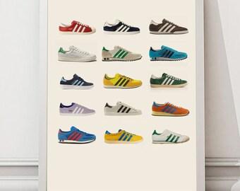Retro Trainers Art - Retro Footwear Print - Adidas Framed Print - Personalised Prints - Cool Retro Gift for him