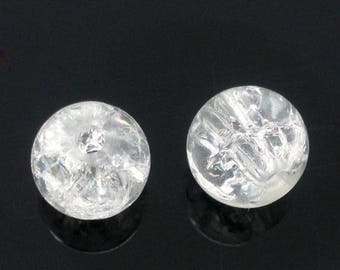 set of 10 white 6 mm Crackle glass beads