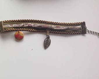 Bracelet Liberty khaki leather and suede