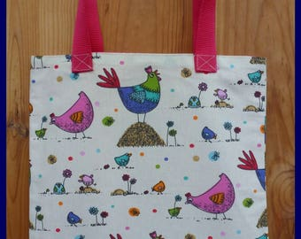 """""""My colorful little hens"""" library bag"""