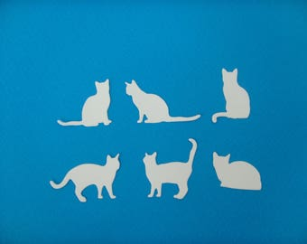 Cutting white set of 6 cats for creation