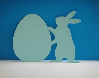 Light blue bunny and Easter egg cutting