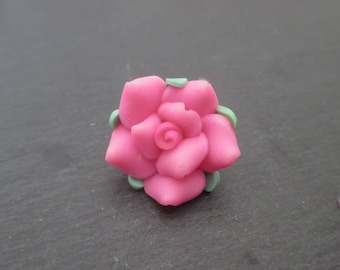 Polymer clay flowers roses with pink heart 20 mm in packs of 2