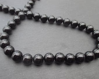 Black agate: 5 round beads 10 mm