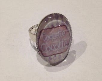 """Beautiful ring adjustable silver Metal Vintage """""""" cocotte """"Coquette"""""""