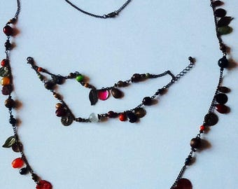 Necklace and bracelet set fancy fall colors beads