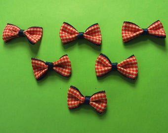 LOT 6 sailing fabric APPLIQUES: 15 * 25 mm red/Navy gingham bowtie