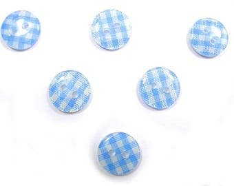 LOT 6 buttons: gingham blue/white 13mm round