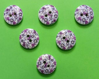 SET of 6 wood buttons: round fancy 15mm (13) pattern