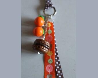 Key ring / jewelry bag orange chocolate