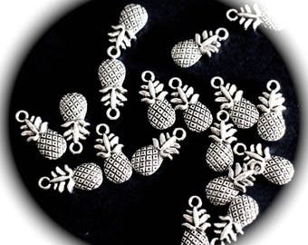 5 charms PINEAPPLE 3D silver metal