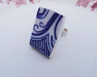 Ring retro vintage - porcelain dishes Old Navy Blue arabesque