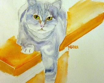 watercolor cat on yellow shelf