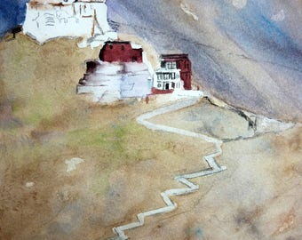 watercolor a Buddhist temple in ladakh (North of the India)