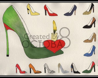 Burning Passion - Original Handmade one off Luxury Footwear & Fashion art - High heel shoes
