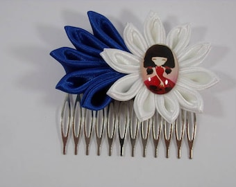 With its kawaii cabochon red blue and white kanzashi flower hair comb. Ideal Party national (red white blue)
