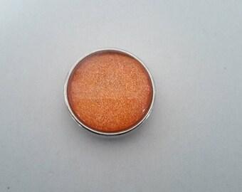 orange iridescent button pressure 18mm glass cabochon