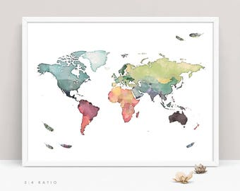 World map printable etsy watercolor world map printable world map with feathers large map of world kids sciox Image collections