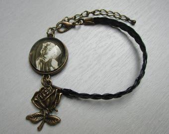 Marilyn Monroe cabochon leather bracelet